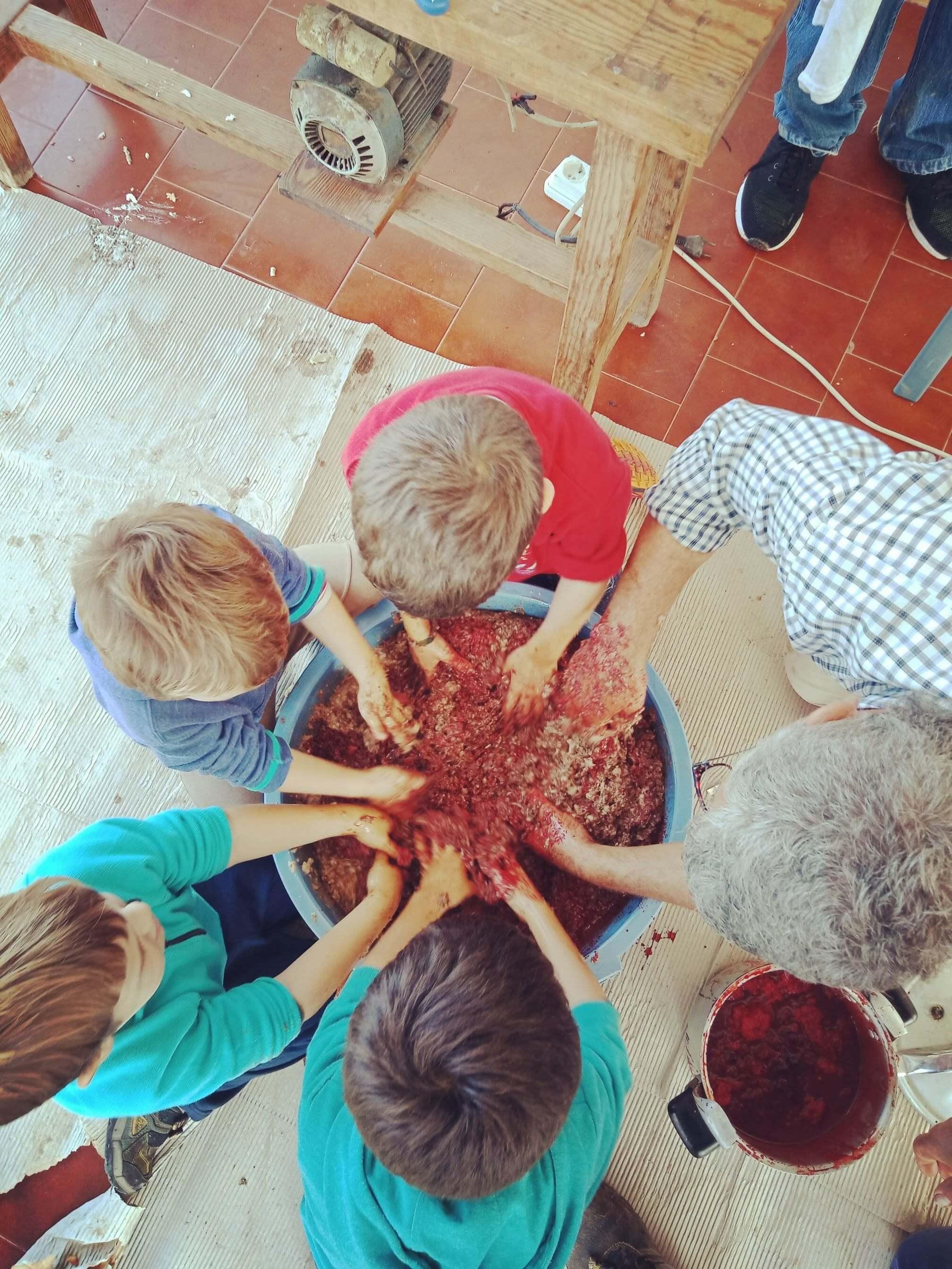 Everyone helping make sobrasada 3 min