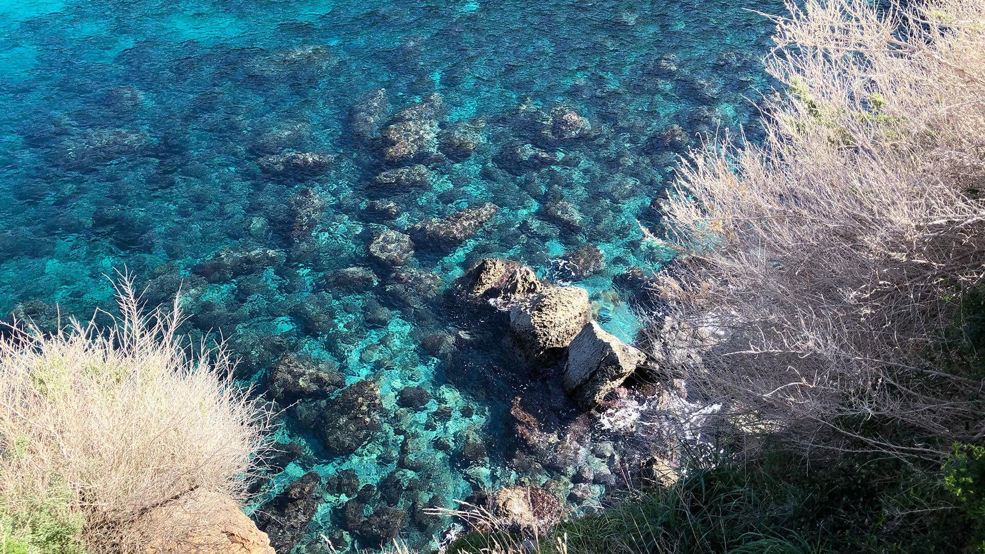 Turquoise water medditeranean Banyalbufar Mallorca Photo by Adele Chretien min