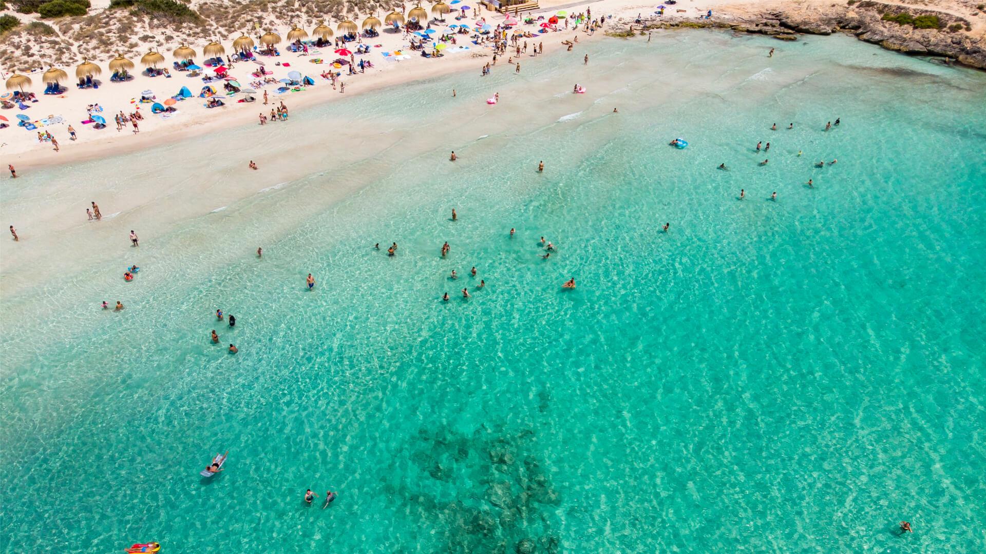Aerial view beach es trenc