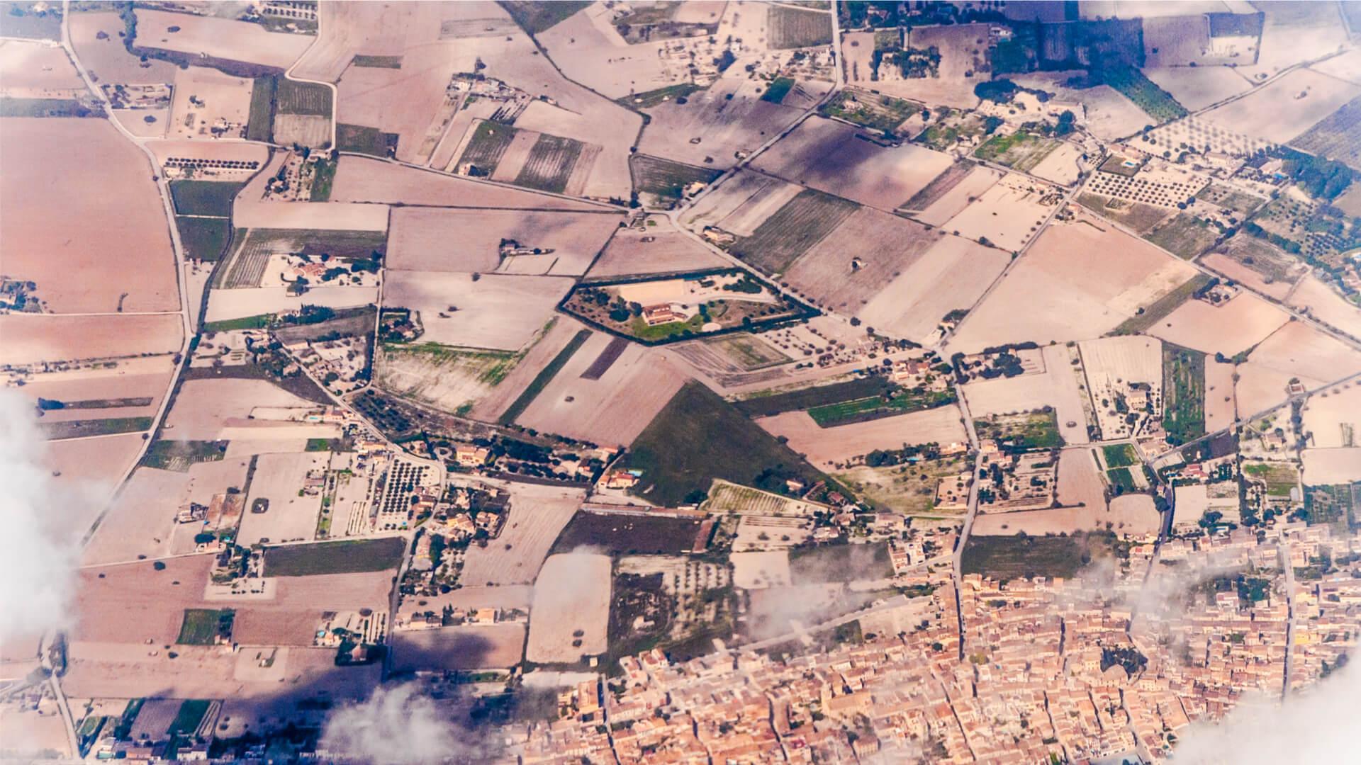 Aerial view montuiri town mallorca
