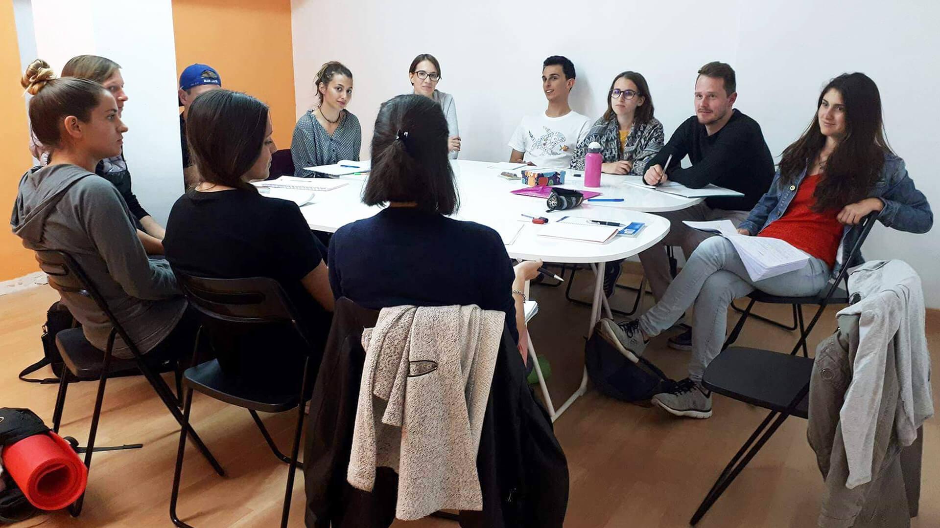 Spanish class group learning spanish teacher