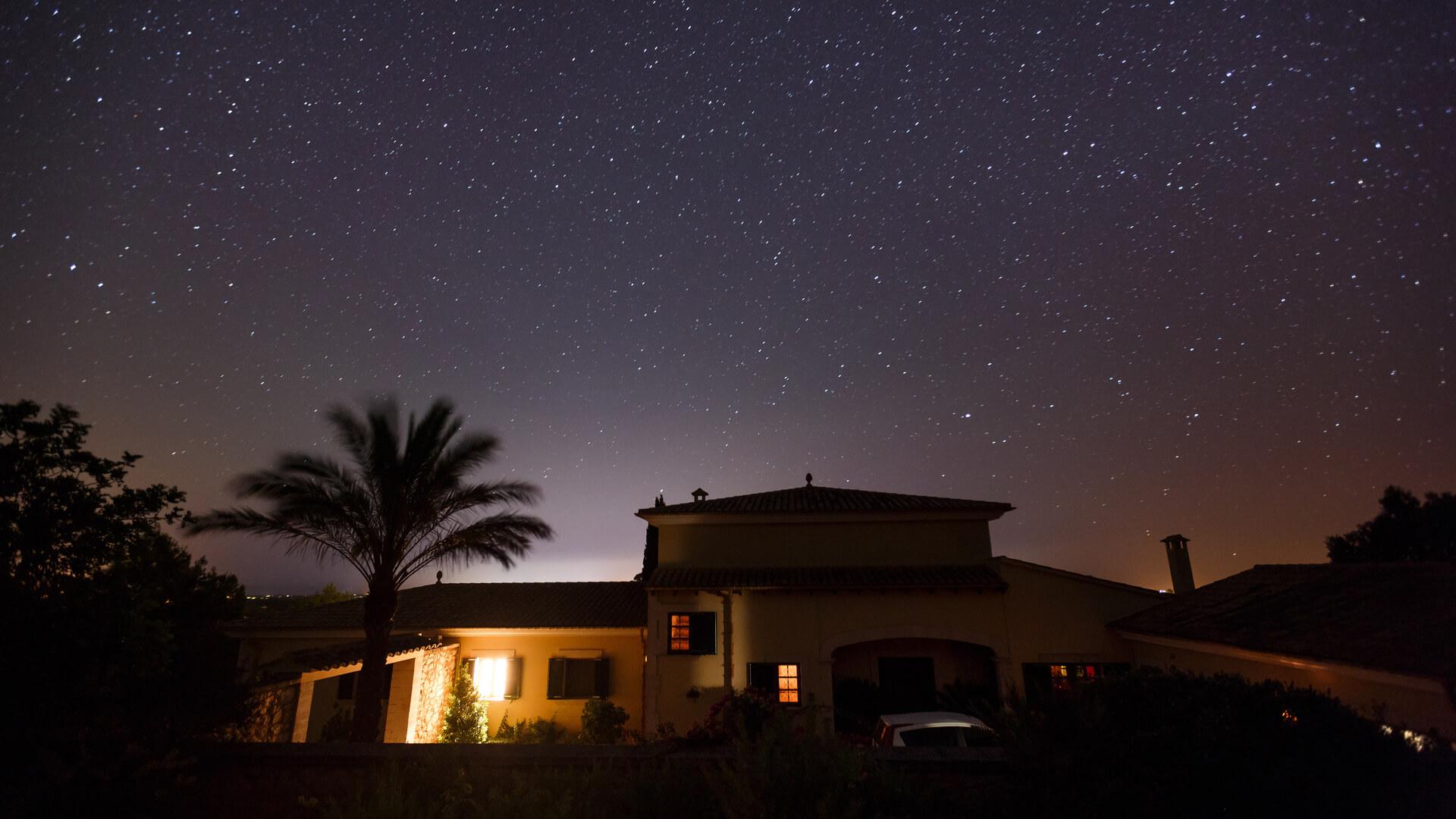 Starry sky over spanish house mallorca